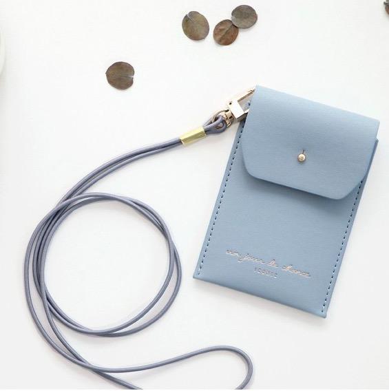 Держатель для пропуска Slit neck card pocket - голубой