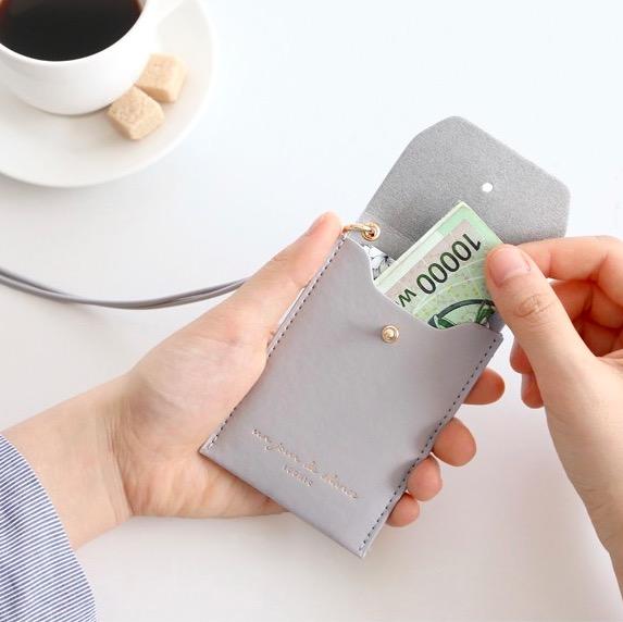 Держатель для пропуска Slit neck card pocket - серый