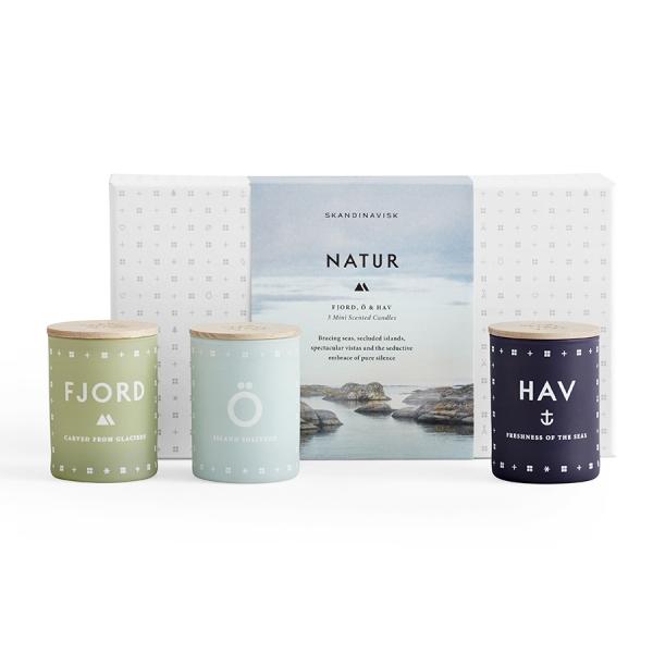 Набор из 3 ароматических свечей natur mini по 55 г