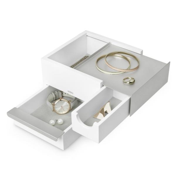 Шкатулка для украшений stowit mini белая-никель