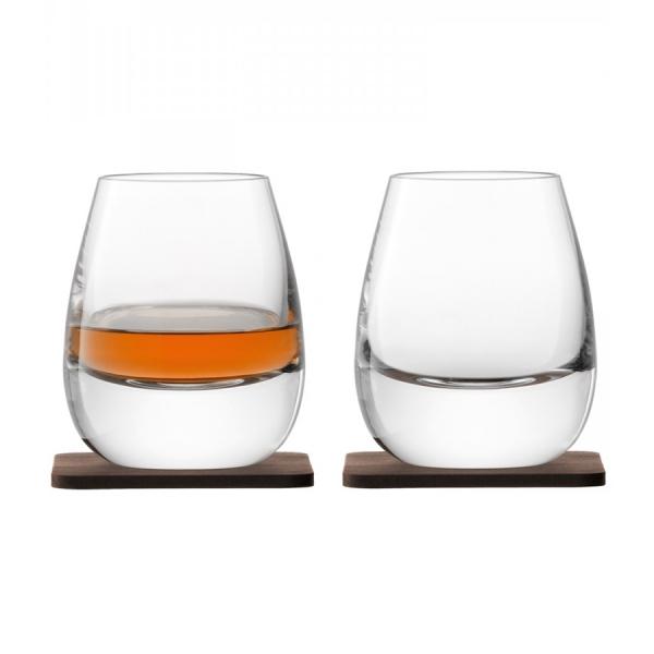 Набор из 2 стаканов islay whisky с деревянными подставками 250 мл