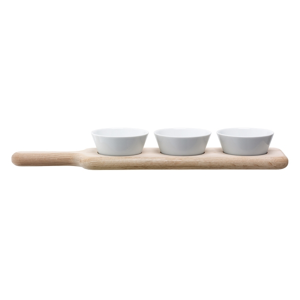 Набор из 3 чаш на подставке paddle 40 см дуб