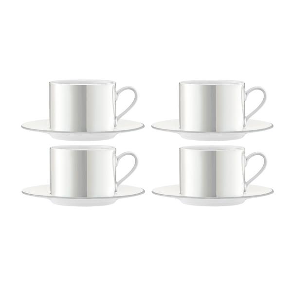 Набор из 4 чашек с блюдцем pearl 250 мл белый перламутр