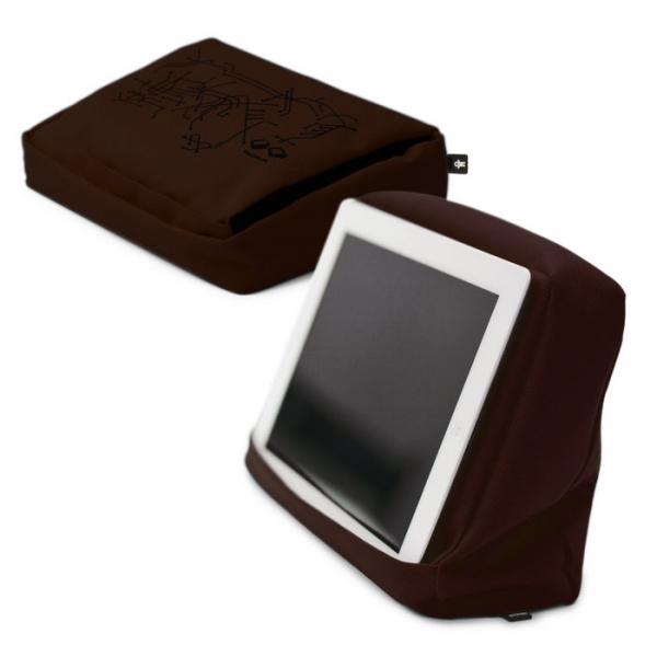 Подушка-подставка с карманом для планшета hitech 2 тёмный школад черный