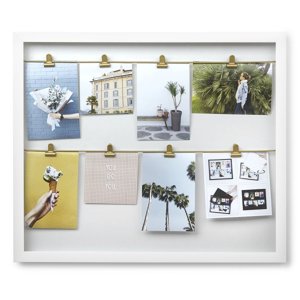 Панно с зажимами для фотографий clipline белое