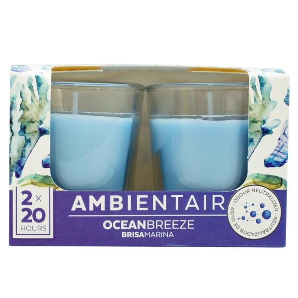 Набор из 2 ароматических свечей  «Океанский бриз» 20 ч