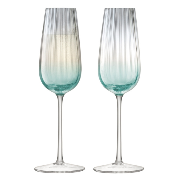 Набор из 2 бокалов-флейт для шампанского dusk 250 мл зелёный-серый