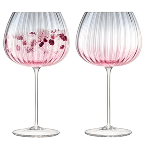 Набор из 2 круглых бокалов dusk 650 мл розовый-серый
