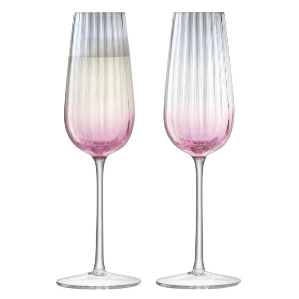 Набор из 2 бокалов-флейт для шампанского dusk 250 мл розовый-серый