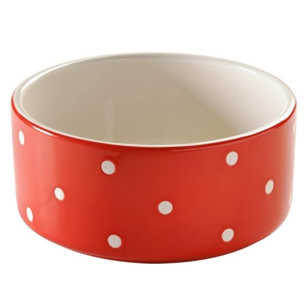 Миска для животных polka dot 18 см красная