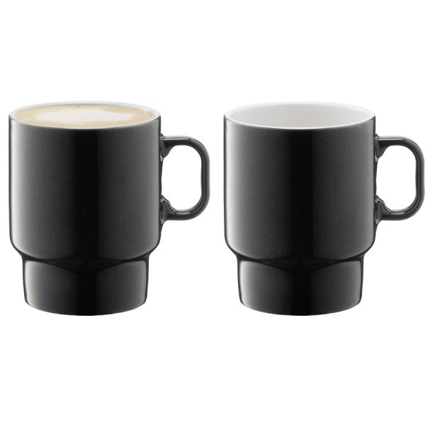 Набор из 2 чашек для капучино utility 380 мл серый