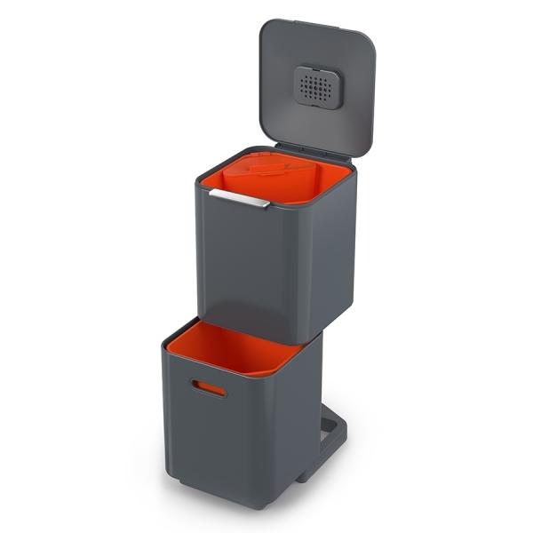 Контейнер для мусора с двумя баками totem compact 40 л графит