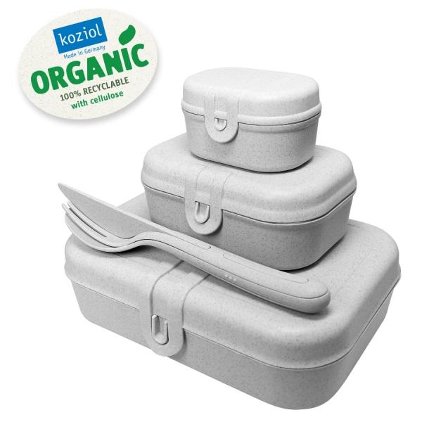 Набор из 3 ланч-боксов и столовых приборов pascal organic серый