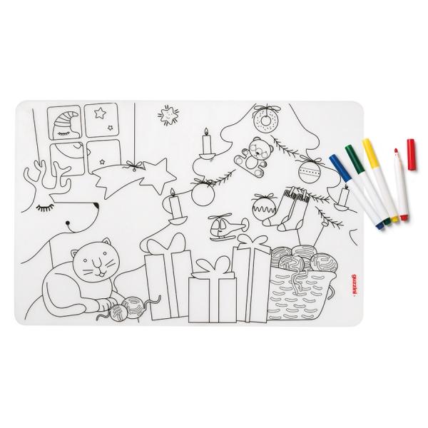 Набор из коврика-раскраски и 4 маркеров bimbi рождество