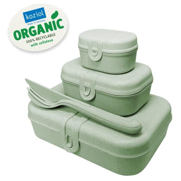 Набор из 3 ланч-боксов и столовых приборов pascal organic зеленый