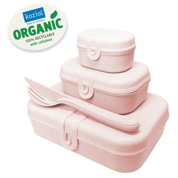 Набор из 3 ланч-боксов и столовых приборов pascal organic розовый