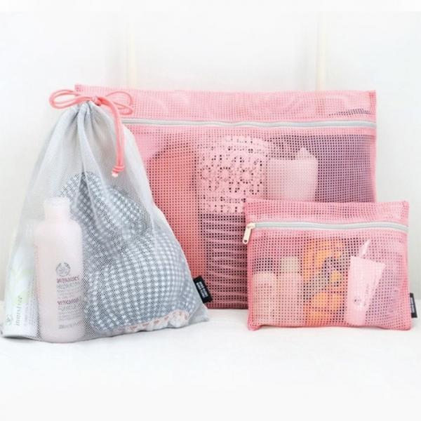 Набор органайзеров для упаковки вещей Mesh travel pouch розовый