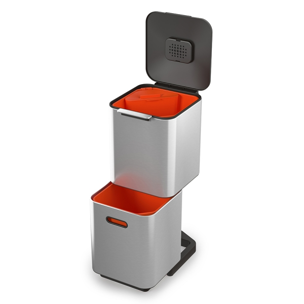 Контейнер для мусора с двумя баками totem compact 40 л нержавеющая сталь