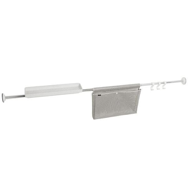 Карниз-органайзер для ванной раздвижной хром