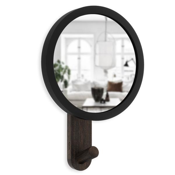 Зеркало-вешалка hub черное/орех