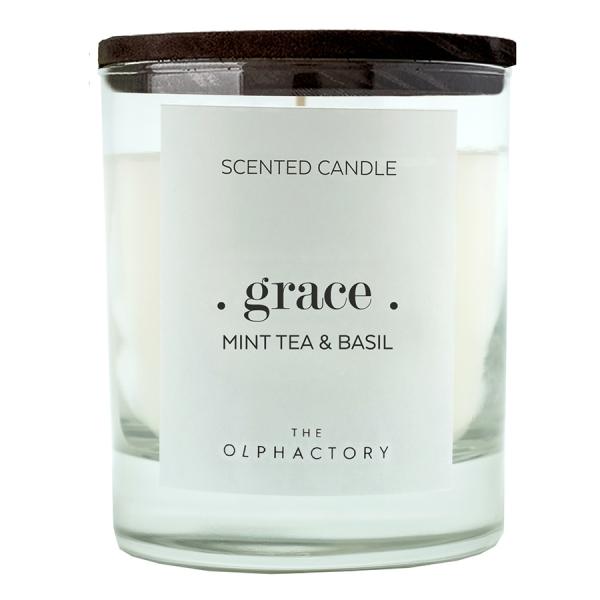 Свеча ароматическая the olphactory graСe black Мята и базилик 40 ч