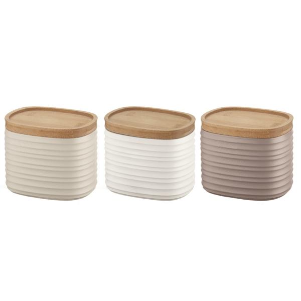 Набор из 3 емкостей для хранения с бамбуковыми крышками tierra 500 мл разноцветный