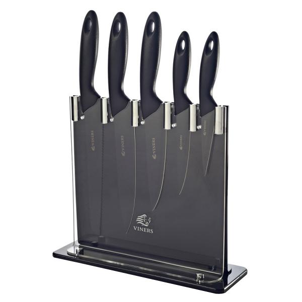Набор из 5 ножей и подставки Silhouette Viners чёрный