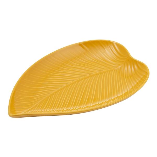 Блюдо сервировочное in the forest leaf среднее желтое