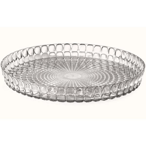 Поднос круглый tiffany 35,6 см серый