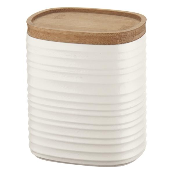 Емкость для хранения с бамбуковой крышкой tierra 1 л молочно-белая