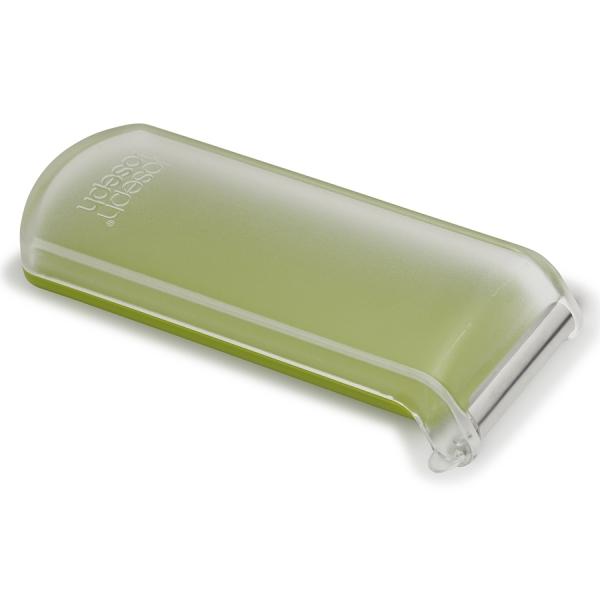 Овощечистка с горизонтальным гладким лезвием и емкостью для очисток peelstore зеленая