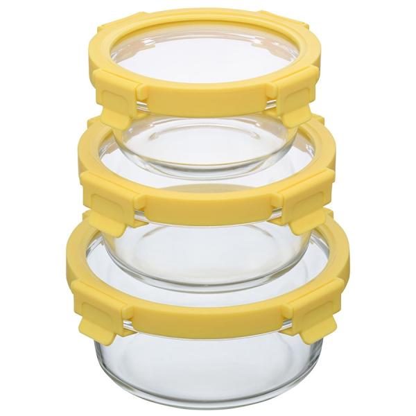 Набор из 3 круглых контейнеров для еды желтый