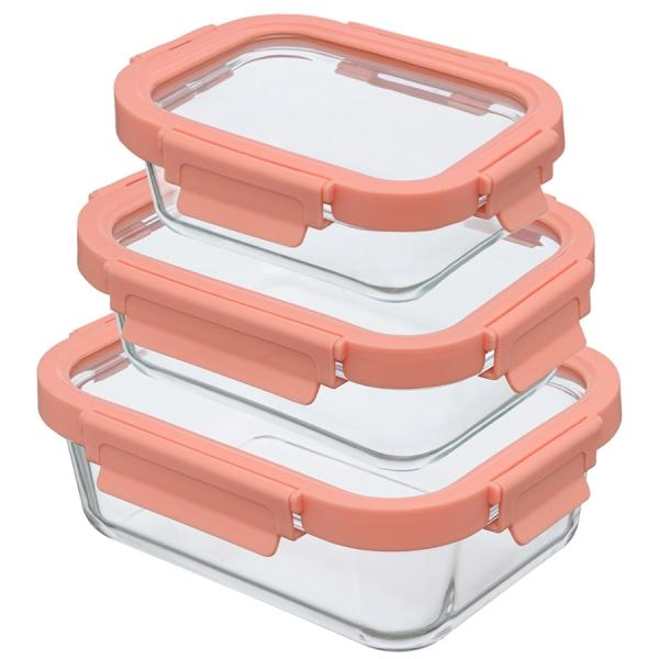 Набор из 3 прямоугольных контейнеров для еды розовый