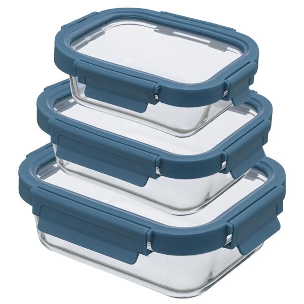Набор из 3 прямоугольных контейнеров для еды темно-синий