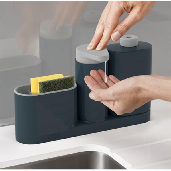 Органайзер для раковины с дозатором для мыла и бутылочкой SinkBase Plus серый Joseph Joseph