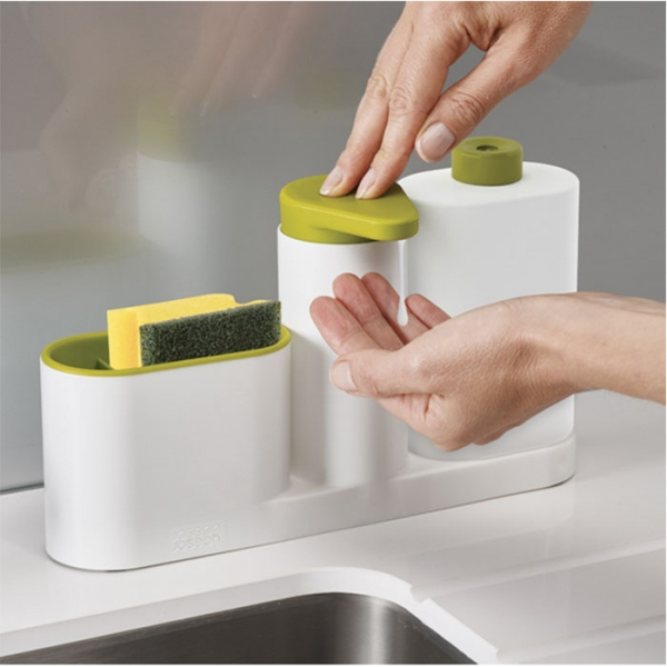 Органайзер для раковины с дозатором для мыла и бутылочкой SinkBase Plus белый/зеленый Joseph Joseph