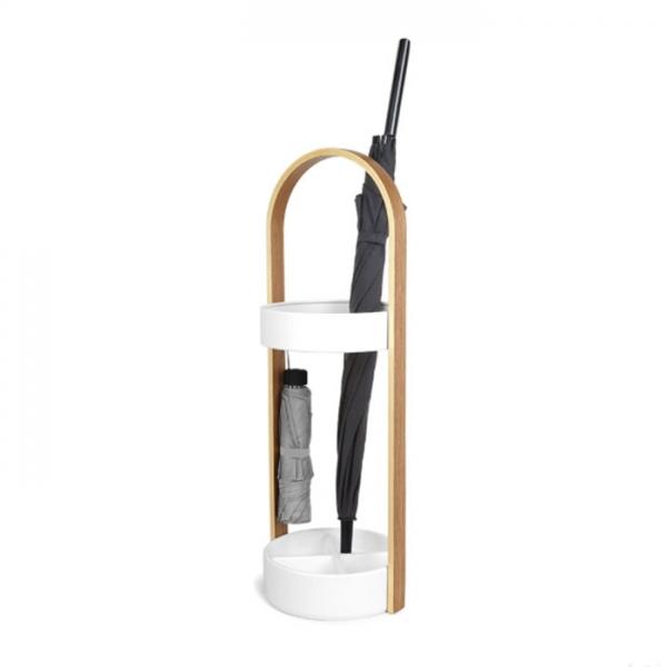 Подставка для зонтов Umbra HUB / bellwood белый/натуральное дерево