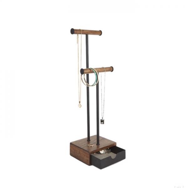 Органайзер для украшений Umbra PILLAR высокий чёрный/орех