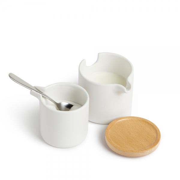 Набор для сахара и сливок Umbra SAVORE натуральное дерево/белый