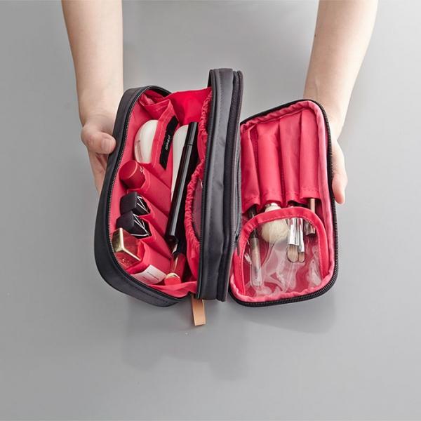 Двойная косметичка DOUBLE ZIP MAKE-UP ITHINKSO черная с розовой подкладкой