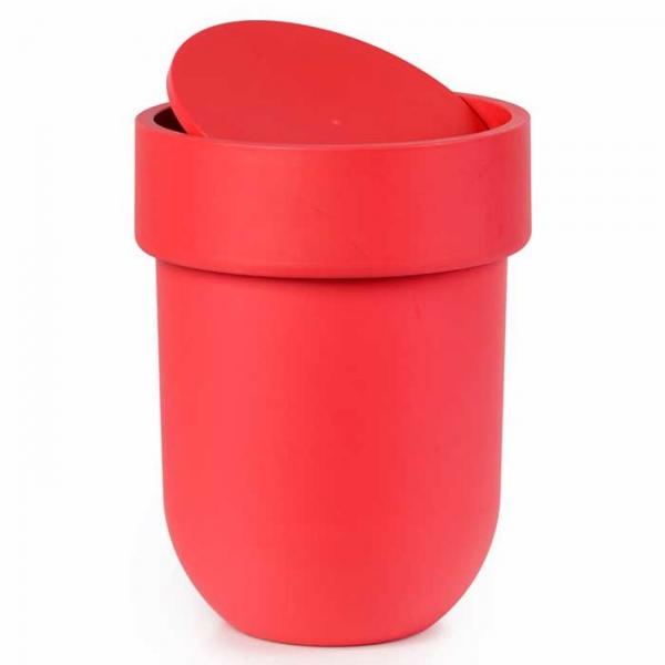 Контейнер мусорный Touch с крышкой красный Umbra