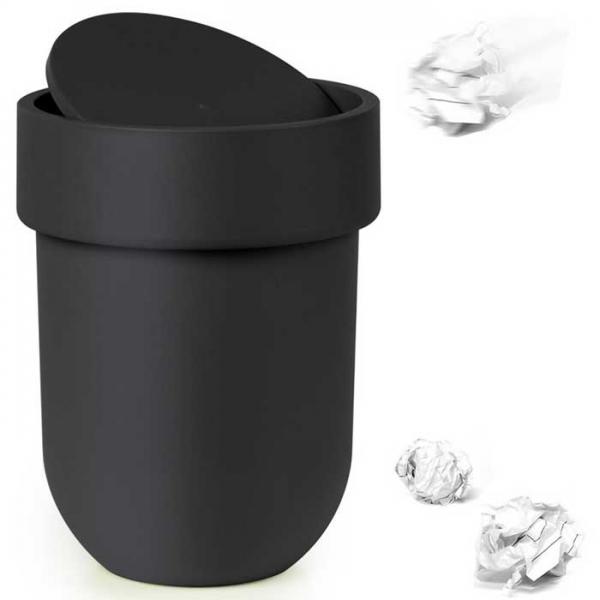 Контейнер мусорный Touch с крышкой черный Umbra