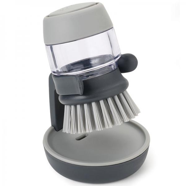 Щетка с дозатором моющего средства Joseph Joseph palm scrub™ серая