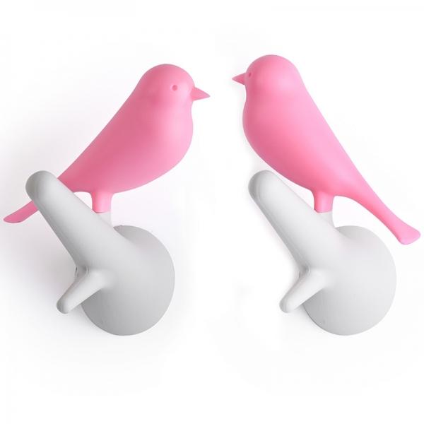 Вешалки настенные sparrow 2 шт. белые/розовые