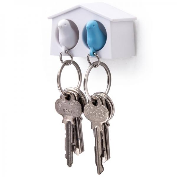 Держатель+брелок для ключей двойной mini sparrow белый/голубой