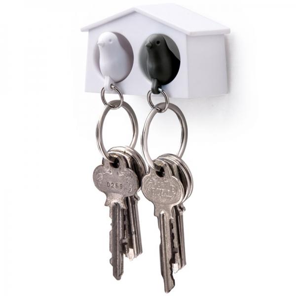 Держатель+брелок для ключей двойной mini sparrow белый/черный