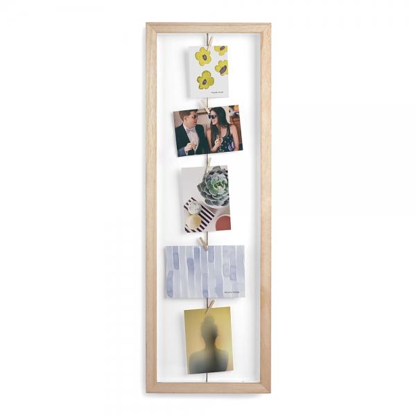Панно с зажимами для 7 фото clothesline натуральное дерево