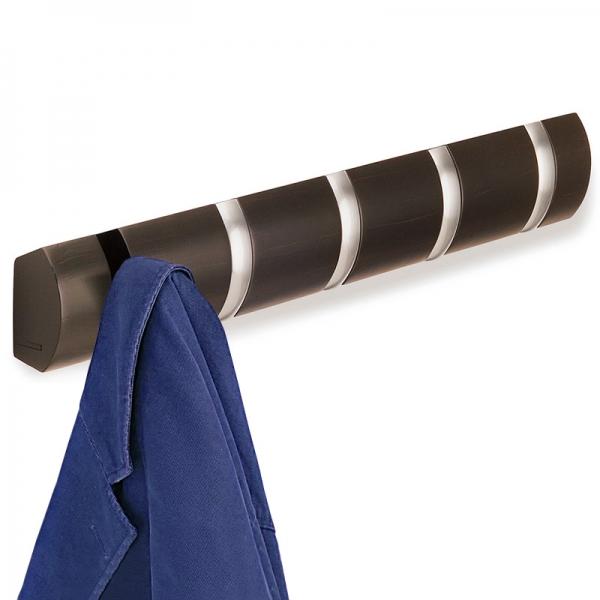 Вешалка настенная горизонтальная flip 5 крючков эспрессо