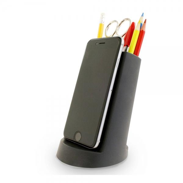 Органайзер для канцелярских принадлежностей с подставкой для телефона черный