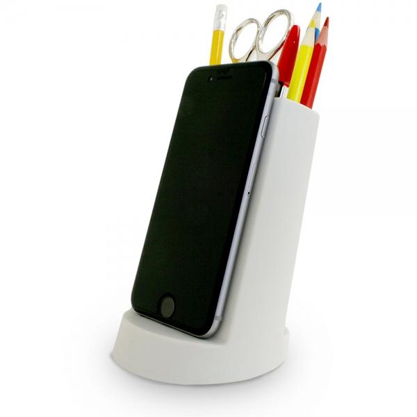 Органайзер для канцелярских принадлежностей с подставкой для телефона графит
